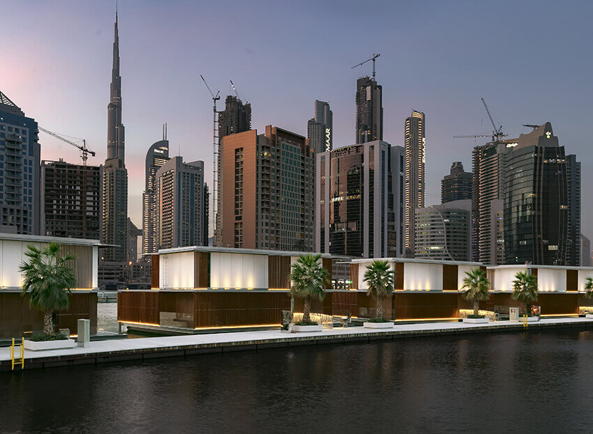 Floating villas in Dubai with Lunawood Thermowood Facade