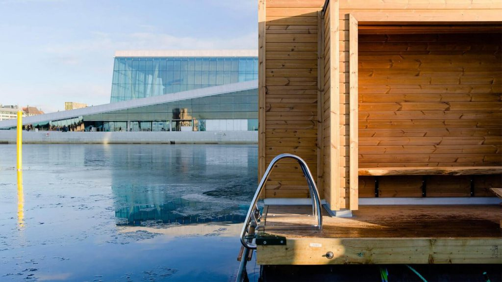 Lunawood Thermowood on floating sauna in Oslo Norway